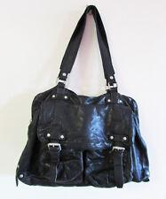 Country Road Black Distressed Grainy Soft Leather Utility Boho Shoulder Med Bag