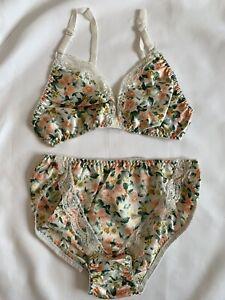 lace & floral bra & panty lingerie cacique set deadstock NOS womens size L/36