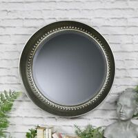 Extra large antique silver round bevelled wall mirror vintage living room hall