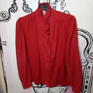 Size 10 Vintage Red High Neck Ruffle Collar & Front Long Sleeve Shirt Blouse