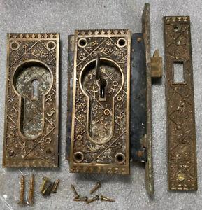 Antique Sargent EKADO Pocket Door Complete Set  Pat. Aug. 18/1885