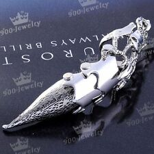 1x Punk Silvery Mens Knuckle Wild Animal Skull Armour Metal Finger Double Ring