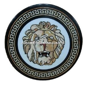 Marble Coffee Table Top Rare Gemstone Lion Face Mosaic Inlay Hallway Decor H495