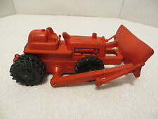 Vintage Auburn Construction Tractor with Plow; 1950's; Bright Red + Black Wheels
