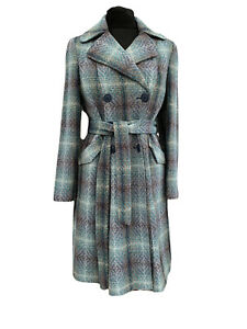 Monsoon Coat Size 14 Turquoise Brown Woven Wool Blend Belted Overcoat