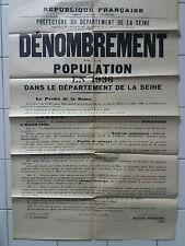 Affiche ancienne Recensement de la population en 1936 old vintage french poster