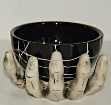 Halloween Skeleton Hand Holding Bowl Decoration Spider Web Bones Ceramic