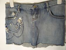 denim skirt size 27 or 8 UK small Guess Jeans bejewelled pearls mini skirt blue