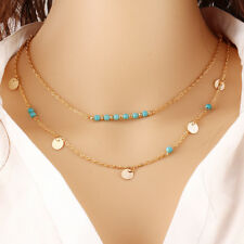 New Fashion Jewelry Womens Turquoise Pendant Chain Chunky Statement Bib Necklace