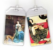 Set of 2 Greyhound Luggage Tags - Vintage Altered Art Ladies + Whippets