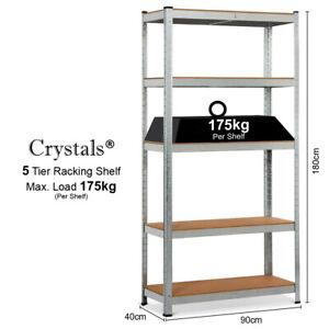 5 Tier Garage Racking Shelf Heavy Duty Shelving Storage Shelves Unit 180x90x40cm