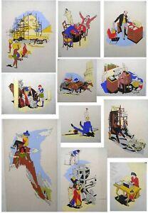 ORIGINAL Cartoons Artwork ROMANS Chariot Race PRINTING Press Ecuador EGYPTIANS