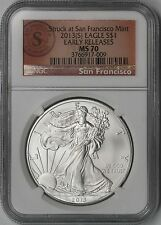2013-(S) Silver Eagle $1 MS 70 NGC E/R Struck at San Francisco Trolley Label