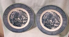 "2 CURRIER & IVES ROYAL CHINA 10"" DINNER PLATES"