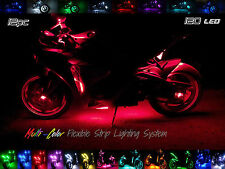 12pc Wireless Multi-Color Flexible 120 LED Motorcycle Lighting Kit 360 Motorbike