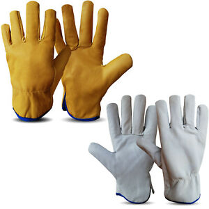 Leather Drivers Gloves Lorry Working Gloves Safety Lined DIY Gloves White,Yellow