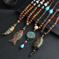 Handmade Nepal Jewelry Wood Beads Pendant Ethnic Fish Long Statement Necklace