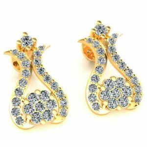 Natural 0.55carat Round Cut Diamond Ladies Cluster Flower Earrings 18K Gold