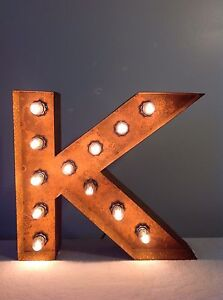 """New Rustic Metal Letter K Light Marquee: Sign Wall Decoration 12"""" Vintage"""