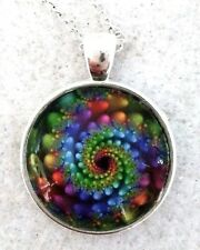 """BUBBLE SPIRAL 1"""" glass pendant necklace handmade silver plated 20"""" chain"""