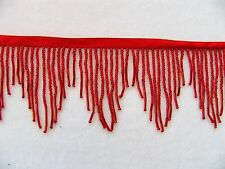 "3"" Wide Vibrant Red All Glass Beaded Fringe Trim ~ Sold BTY ~ Lampshades"