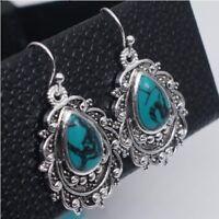 Women Boho Tibetan 925 Silver Turquoise Ear Dangle Drop Hook Earrings Jewelry
