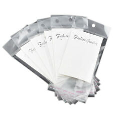 100 White Earring Display Cards with Self Adhesive Bags L4F1