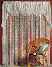 Simone continuous floral Lace Curtain White or Cream read listing description.