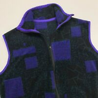 Vintage 90s Patterned Fleece Vest Adult Small Green Full Zip Sleeveless