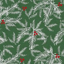 HOLIDAY TRADITIONS GREEN HOLLY CHRISTMAS FABRIC