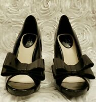 Studio Paolo Women's Black Patent Leather Peep Toe *Accent Bow* Heels Size 6M