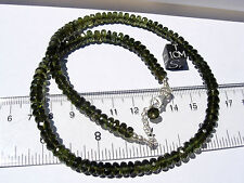 119.4 carats checkered cut beads 6x3mm MOLDAVITE necklace 18 inches