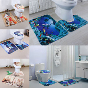 3Pcs 4 Types Set Bathroom Non-Slip Pedestal Rug + Lid Toilet Cover + Bath Mat