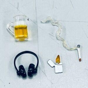 """FIG-CLBMHP: 1/12 Cigarette, Lighter, Beer Mug, Headphone for 6"""" action figures"""