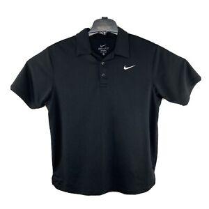 Nike Dri-Fit Short Sleeve Solid Black Golf Polo Shirt Mens Size L Large Swoosh