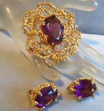 Panetta Signed Large Amethyst Brooch and  Clip Earrings mint con Beautiful