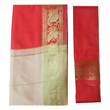 Brokat Sari beige rot Goldbrokat Bindi Ohrhänger Wickelkleid Polyester