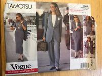 Vogue Sewing Pattern 1087 Very Easy Tamotsu Suit Jacket Pants Skirt Dress