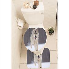 Wolf Set of 3 Bathroom Rug Set Mat Toilet Lid Cover y70 y0095