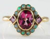 DAINTY 9CT 9K GOLD PINK TOPAZ & AUS OPAL CLUSTER ART DECO INS RING FREE RESIZE