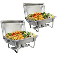 2 Set Catering Stainless Steel Buffet Dish 8 Qt Full Size