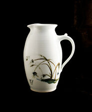HANDTHROWN POTTERY WATER PITCHER: ORIENTAL REED DESIGN;