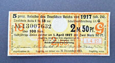 5 % Anleihe Deutschen Reichs 2,5 Mark Berlin 1917 Zinsschein Banknote Gelb (8091
