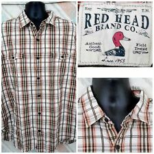 Red Head 2XL Cotton LS Yellow Brown Check/Plaid Button Pockets           K18