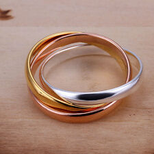 *UK* 925 SILVER PLT GOLD BRONZE TRIPLE INFINITY BAND RING THREE INTERWOVEN MULTI