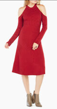 "$338 BCBG RUBY ""INES"" COLD SHOULDER SWEATER DRESS NWT M"
