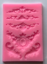 5 Lace Edging Border Cake Chocolate Silicone Mold Cupcake Wedding Baking Damask