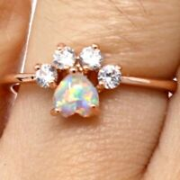 Large 1 Ct Fire Opal Moissanite Halo Ring Women Wedding Jewelry 14K Rose Gold