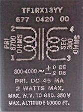 Tf1Rx13Yy Midwest 1 Transformer 6700 to 300 ohms @ 2 Watts @ 45 Ma