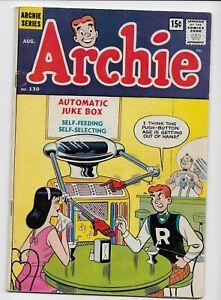 ARCHIE Comics - ARCHIE #130 Aug. 1962 - Rare 15c cover price